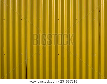 Yellow Corrugated Wall. Yellow Steel Background. Mounted With Screws. Can Be Used As A Background. V