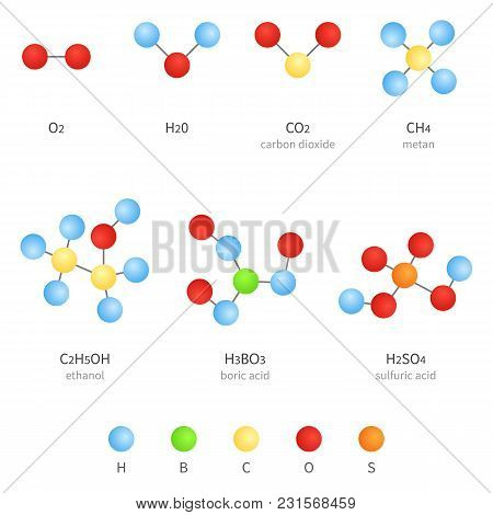 Vector Set Of Molecular Formula Icons