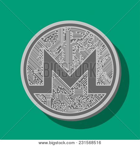 Coin Of The Crypto Currency Monero, Drawn In Vector