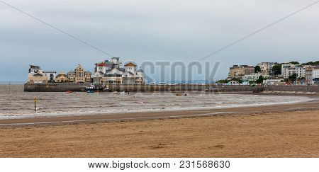 Weston-super-mare Beach And Harbour, Somerset, West England Coast