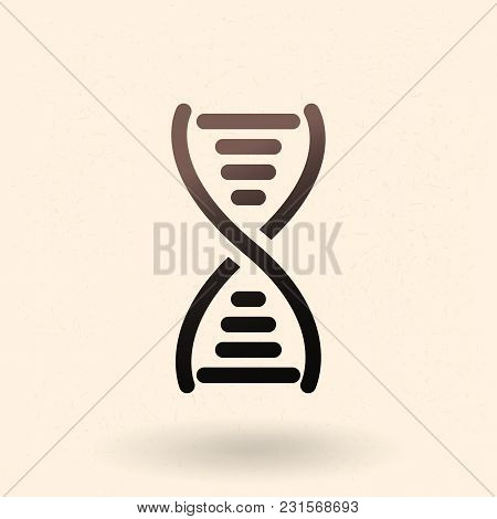 Vector Black Dna Icon. Deoxyribonucleic Acid Symbol