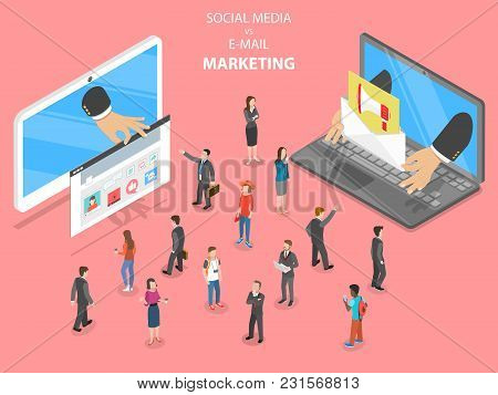 Social Media Vs E-mail Marketing Flat Isometric Vector. Two Devices With Different Digital Marketing