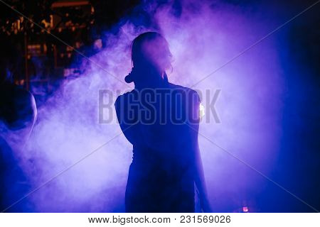 Silhouette Of The Singer At Concert, Wedding