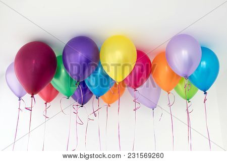 Bright Different Colored Helium Balloons Hanging Under White Ceiling.
