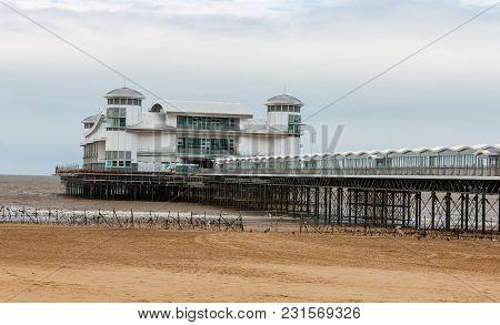Grand Pier Across Weston-super-mare Beach, Somerset, England
