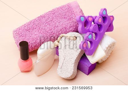Foot Care And Cosmetics. Pedicure Accessories Set Tools : Pumice With Footprint, Towel, Toe Separato