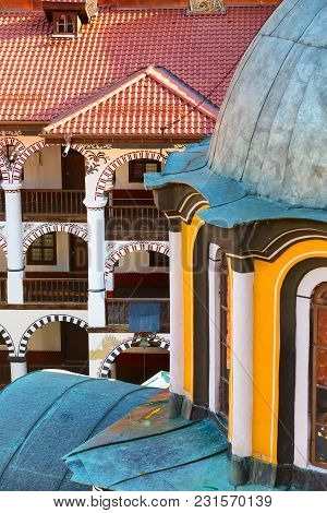 Rila Monastery Architectural Details Close-up, Landmark Of Bulgaria