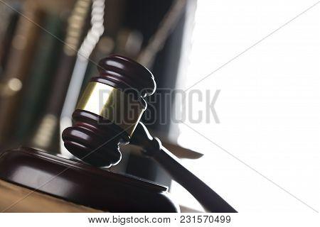Law Theme. Mallet Oft He Judge, Books, Bookshelter Background.