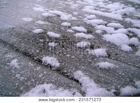 Wooden Winter Texture Covered With Frost And Snow