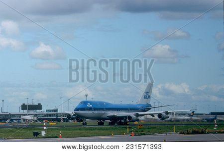 Amsterdam, Netherlands, September 2001. Boeing 747-400 Landing, Operated By Klm, Landing At Schiphol