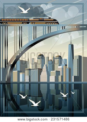 View Of Downtown Of New York. Handmade Drawing Vector Illustration. Retro Poster. All Buildings Is D