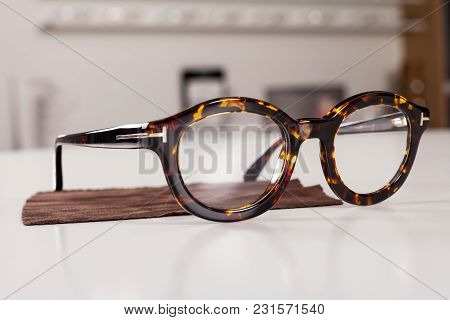 Close Up Picture Of Corrective Eye Glasses In An Optics Store