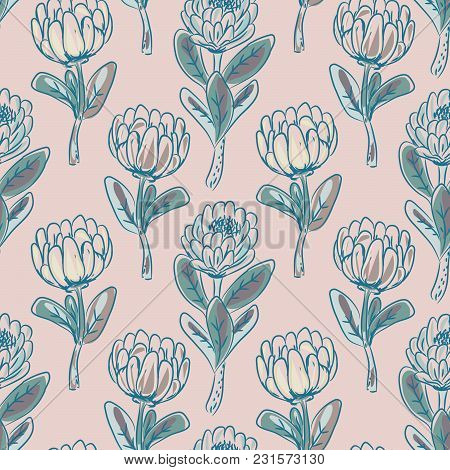Protea Flower Seamless Vector Pattern. Hand Drawn Dust Pink Floral Background.