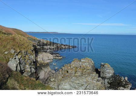 Rocky Promontory On The Coastal Walk, Isle Of Man