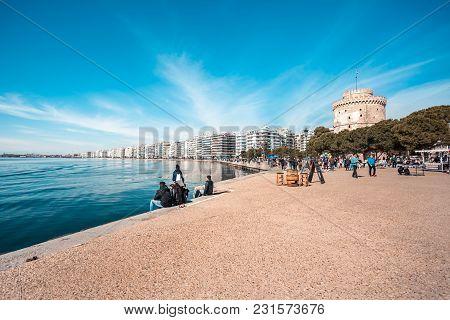 10.03.2018 Thessaloniki, Greece - Walking Tour By The Port Of Thessaloniki In Greece