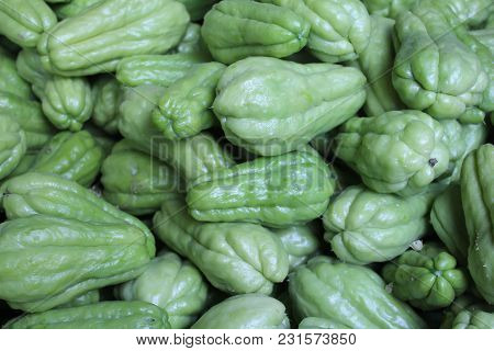 Close Up Green Chayote Squash For Background
