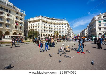 10.03.2018 Thessaloniki, Greece - People Walking At Aristotelous Square In The Center Of City Of The