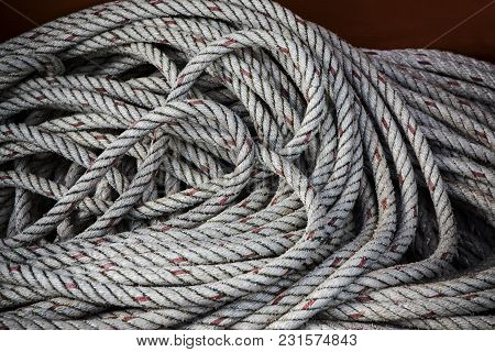 Close Up Texture Of  Boat Rope Line