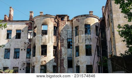 Old Abandoned Destroyed Historical Building Without Roof And Windows