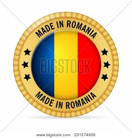 Icon Made In Romania On A White Background.