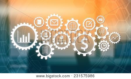 Gears Pattern With Business And Finance Symbols, Office Interior Out Of Focus On Background (3d Rend