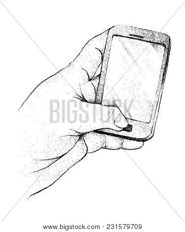 Illustration Of Hand Drawn Sketch Of Hand Holding Cellular Phone Or Mobile Smart Phone And Touching