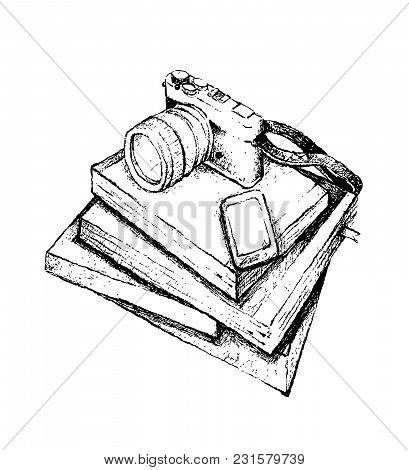 Illustration Of Hand Drawn Sketch Of Cellular Phone Or Mobile Smart Phone And Camera On Pile Of Trav