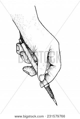 Illustration Of Hand Drawn Sketch Person Holding A Pen Or Pencil And Planning For Sketching, Writing