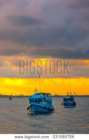 Passenger Boats In The Sea At Kao Samed Or Koh Samed In The Evening At Rayong Province, Thailand