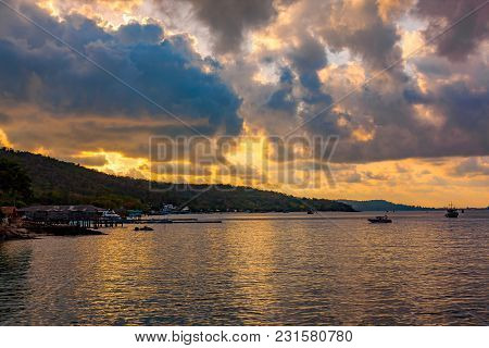 View Of Sunset At Koa Samed Or Koh Samed In Rayong Province, Thailand