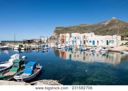 The Fishing Village Of Punto Longa On The Mediterranean Island Of Favignana Which Belongs To The Aeg