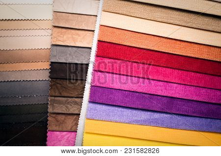 Colored Tissue Samples. Fabric For A Furniture Upholstery.