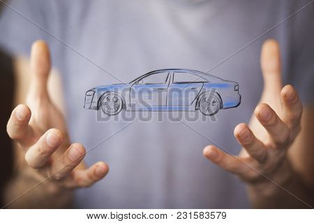 Man Hand Car On The White Background