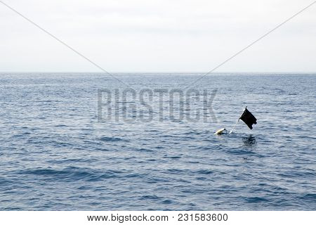 Black Piece Of Cloth Or Similar Material Attached To A Pole Sticking Out Of A Submerged Floating Con