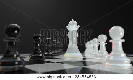 management in chess, 3d illustration