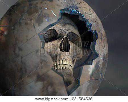skull in a broken space suit, 3d illustration