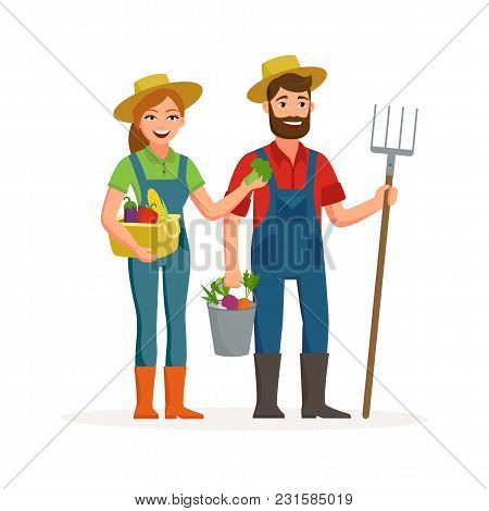Happy Farmers Vector Flat Design Isolated On White Background. Cartoon Characters Of Man And Woman F