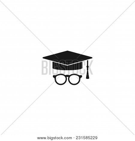 Graduation Cap Or Mortar Board Icon With Tassel And Glasses. Flat Illustration Isolated On White. Ed