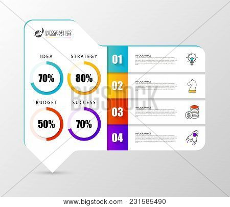 Infographic Design Template. Organization Chart With 4 Steps Or Options, Workflow, Process, Diagram.