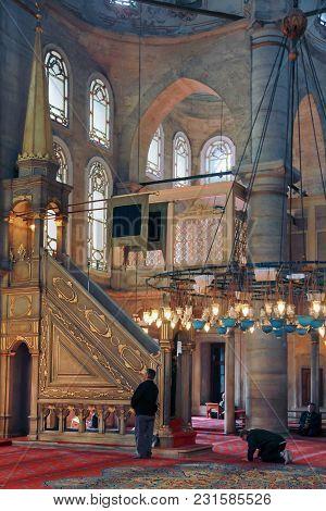 Istanbul, Turkey - March 24, 2012: Minbar In The Eyupa Mosque.