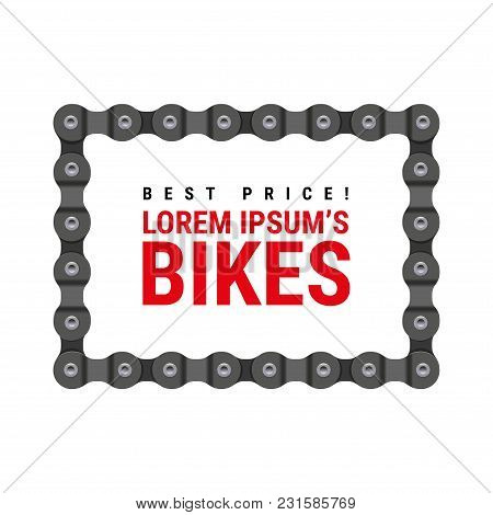 Square Vector Frame Made Of Bike Or Bicycle Chain. Realistic Detailed Bike Chain.