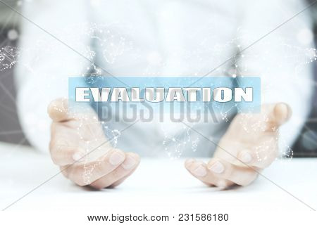 Businessman Is Drawing On Virtual Screen. Evaluation Concept.