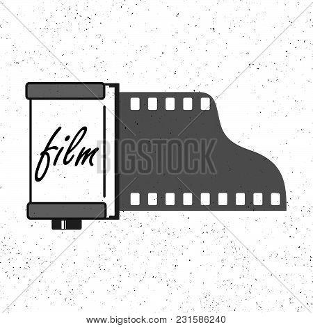Photographic Film Cassette Icon On Grunge Background.