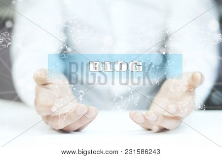 Blog Text On Screen On Man Hand
