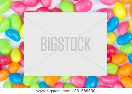 Colorful Jelly Bean Background With White Square Space For Text Copy Space