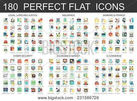 180 Vector Complex Flat Icons Concept Symbols Of Legal, Laws And Justice, Insurance, Banking Finance