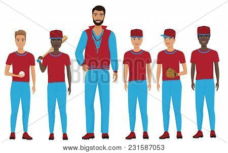 School Kids Children Baseball Team With A Coach Staing Together. Vector Illustration