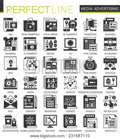 Media Advertising Black Mini Concept Icons And Infographic Symbols