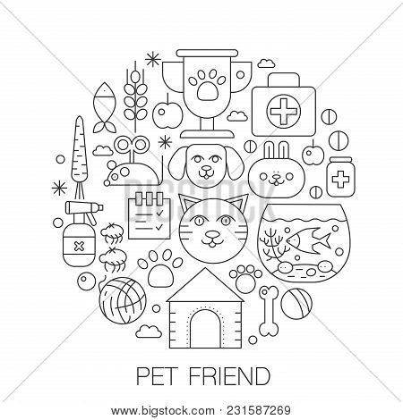 Pet Friend In Circle - Concept Line Illustration For Cover, Emblem, Badge. Pets Thin Line Stroke Ico