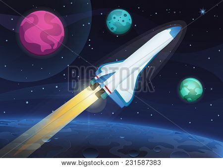 Vector Illustration Of A Space Rocket Launch From Earth. Space Travel To The Alien Planets And Stars